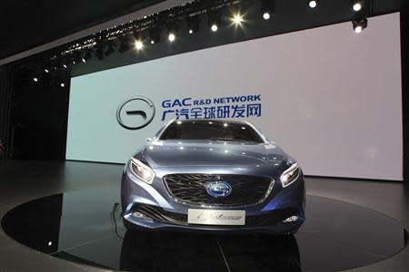 A Trumpchi E-jet car is displayed at an auto show in Guangzhou