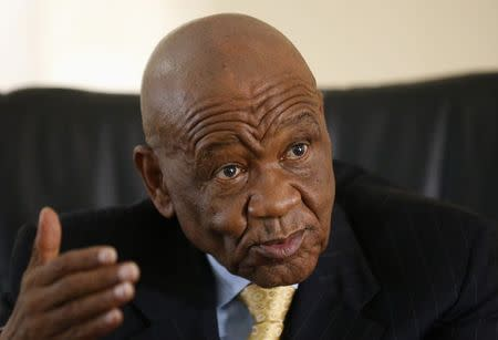 Lesotho's Prime Minister Thabane gestures as he speaks during an interview with Reuters at the state house in the capital Maseru