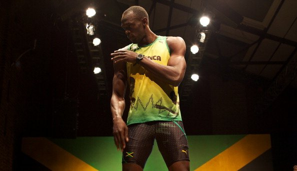 Jamaican sprinter Usain Bolt stands on a