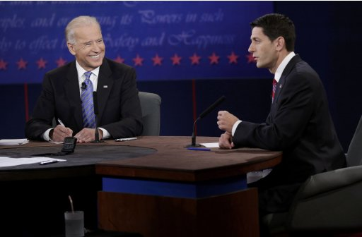 U.S. Vice President Biden listens as Republican vice-presidential nominee Ryan speaks during the U.S. vice presidential debate in Danville