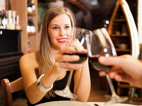 women drinking wine on a date