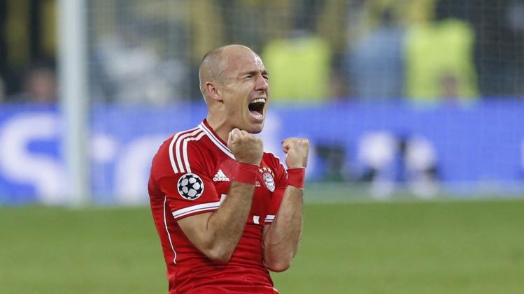 Bayern's Arjen Robben of the Netherlands reacts after the final whistle, after his team won 2-1 the Champions League Final soccer match against Borussia Dortmund at Wembley Stadium in London, Saturday May 25, 2013.  (AP Photo/Matt Dunham)
