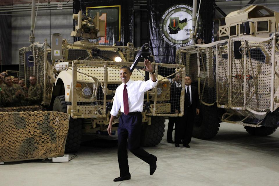 President Barack Obama arrives to address troops at Bagram Air Field, Afghanistan, Wednesday, May 2, 2012. (AP Photo/Charles Dharapak)
