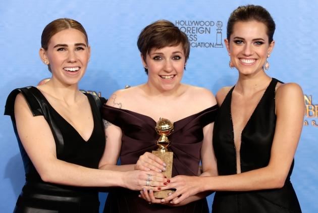 Zosia Mamet, Lena Dunham and Allison Williams pose in the press room at the 70th Annual Golden Globe Awards held at The Beverly Hilton Hotel on January 13, 2013 in Beverly Hills -- Getty Premium