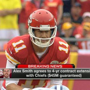 Quarterback Alex Smith and Kansas City Chiefs agree on new deal