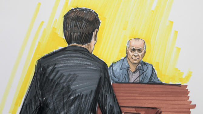 In this courtroom sketch, David Coleman Headley is shown in federal court Monday, May 23, 2011, in Chicago. Headley, the government's main witness, is cooperating with prosecutors after pleading guilty to taking photos and videos of targets in Mumbai before the rampage that killed 160 people including six Americans over three days. Chicago businessman Tahawwur Rana is accused of providing cover for Headley by allowing him to use his Chicago-based immigration services business as a cover when he traveled to India. (AP Photo/Tom Gianni)