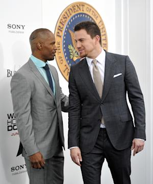 "Actors Jamie Foxx, left, and Channing Tatum attend the ""White House Down"" premiere at the Ziegfeld Theatre on Tuesday, June 25, 2013 in New York. (Photo by Evan Agostini/Invision/AP)"
