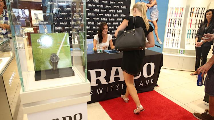 IMAGE DISTRIBUTED FOR RADO - Tennis star and Rado ambassador Agnieszka Radwanksa meets fans at the Hour Passion Boutique in New York, Thursday, August 21, 2014. (Photo by Wendy Ploger/Invision for Rado/AP Images)