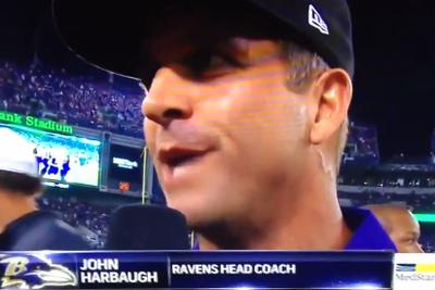 John Harbaugh goes off on reporter for halftime interview questions
