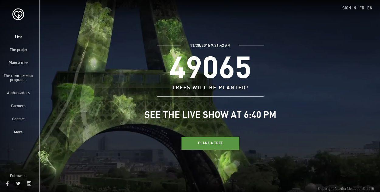 'Virtual trees' turn the Eiffel Tower green for COP21