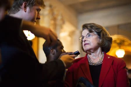 Feinstein talks to reporters at the U.S. Capitol in Washington