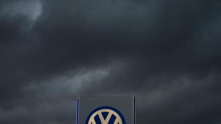 Logo of German carmaker Volkswagen is seen at a VW dealership in Hamburg