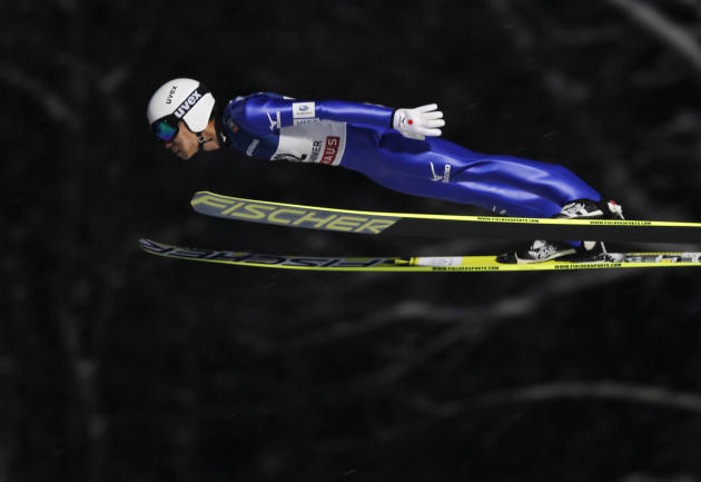 Daiki Ito of Japan flies through the air during the men's H138 FIS World Cup ski jumping competition in Lillehammer