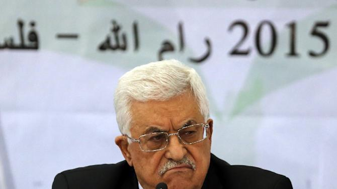 Palestinian leader Mahmud Abbas addresses the Palestinian leadership at the opening of a two-day conference in the West Bank city of Ramallah, on March 4, 2015