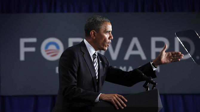 President Barack Obama speaks at a campaign fundraiser in Stamford, Conn., Monday, Aug., 6, 2012. (AP Photo/Pablo Martinez Monsivais)