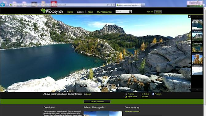 This undated screenshot provided by Microsoft shows Photosynth, which lets you take 360-degree panoramic photos that become interactive on a smartphone or computer screen.  While it's wildly popular and the target of Facebook's $1 billion takeover deal, Instagram isn't the only camera app. (AP Photo/Microsoft)