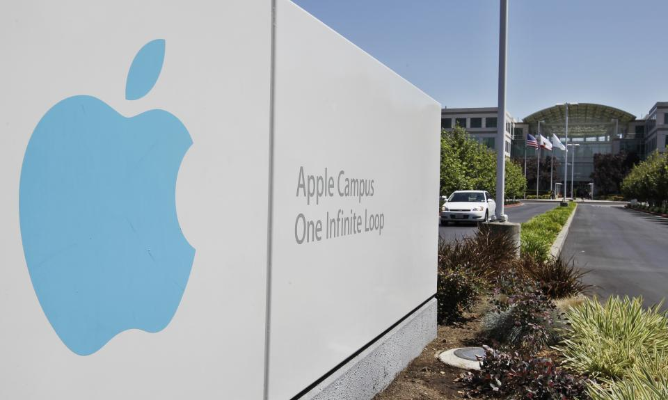 This Monday, Aug. 20, 2012, photo, shows Apple headquarters in Cupertino, Calif., Monday, Aug. 20, 2012. On Monday, Apple set a new record for the most valuable company at $621 billion, beating Microsoft's 1999 high.(AP Photo/Paul Sakuma)