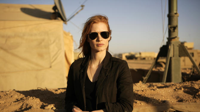 "This undated publicity film image provided by Columbia Pictures Industries, Inc. shows Jessica Chastain playing a member of the elite team of spies and military operatives stationed in a covert base overseas who secretly devoted themselves to finding Osama Bin Laden in Columbia Pictures' gripping new thriller directed by Kathryn Bigelow, ""Zero Dark Thirty."" (AP Photo/Columbia Pictures Industries, Inc., Jonathan Olley)"
