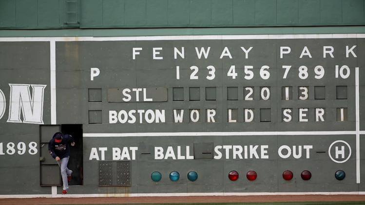 Up close, Fenway's Green Monster not so green