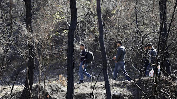 Syrian citizens walk between burned trees as they cross into Turkey near the town of Yayladagi, at the Turkish-Syrian border, Wednesday, Feb. 13, 2013. Syrian rebels fought pitched battles Wednesday against regime forces at a military base that protects a major airport in the country's north in fighting that has left more than 40 government troops dead, opposition activists said. (AP Photo/Hussein Malla)