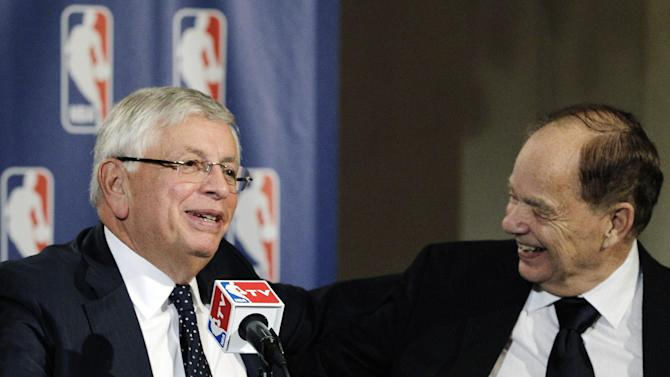 Glen Taylor, Minnesota Timberwolves owner and outgoing NBA Board of Governors chairman, right, laughs with Commissioner David Stern during a basketball news conference following meetings in New York, Thursday, Oct. 25, 2012. Stern announced he will retire on Feb. 1, 2014, 30 years after he took charge of the league. He will be replaced by Deputy Commissioner Adam Silver. Taylor will be replaced as board chairman by San Antonio Spurs owner Peter Holt. (AP Photo/Kathy Willens)