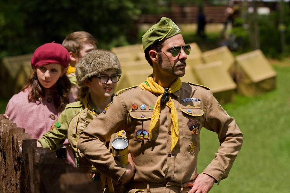 "In this film image released by Focus Features, from left, Kara Hayward, Jared Gilman and Jason Schwartzman are shown in a scene from ""Moonrise Kingdom."" (AP Photo/Focus Features, Niko Tavernise)"