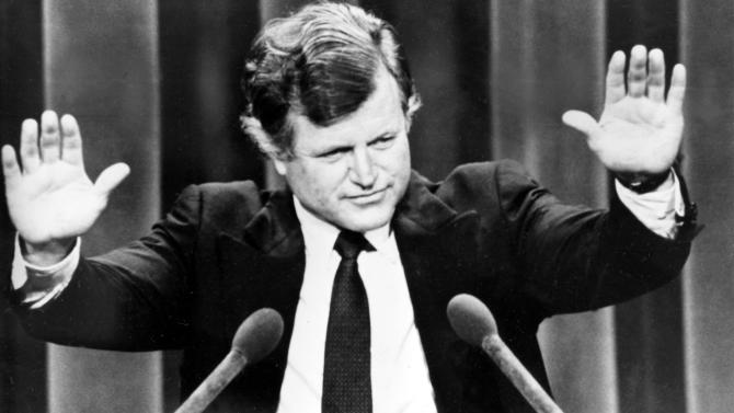"""FILE - In this Aug. 12, 1980, file photo, Sen. Edward M. Kennedy responds to the applause at the presidential Democratic National Convention in New York City. Democrats have little hope of matching the fervor and historical import of their 2008 convention, when they made Barack Obama the first black presidential nominee of a major political party. One of the memorable moments from past conventions was when Kennedy's challenge to President Jimmy Carter fell short, he conceded with a defiant note: """"The cause endures, the hope still lives and the dream shall never die."""" In 2008, stricken by incurable brain cancer, Kennedy will echo these words as he passes the torch to Barack Obama: """"The work begins anew, the hope rises again and the dream lives on.""""  (AP Photo/File)"""