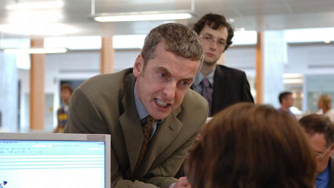 "This 2005 picture provided by BBC Worldwide Americas and Hulu shows Peter Capaldi, center, portraying Malcolm Tucker and Chris Addison as Ollie Reeder in the British political comedy ""The Thick of It."" The video website Hulu will have sole U.S. broadcasting rights for the fourth season of the series. Along with debuting the new series on July 29, 2012, Hulu and its pay subscription off-shoot Hulu Plus will also feature all three previous seasons of the sitcom. (AP Photo/BBC Worldwide Americas, Hulu)"