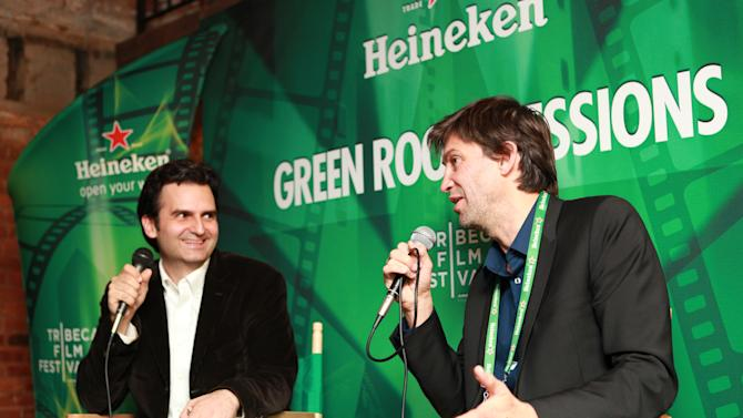 """IMAGE DISTRIBUTED FOR HEINEKEN - In this image released on Saturday, April 27, 2013, Filmmaker Nicholas Wrathall, right, discusses his film """"Gore Vidal"""" with New York Magazine Film Critic Bilge Ebiri at Heineken Green Room Session during Tribeca Film Festival, Friday, April 26, 2013 in New York City. (Heineken via AP Images)"""