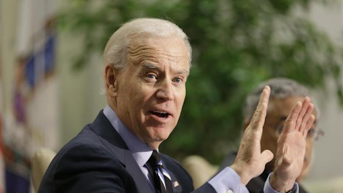 Vice President Joe Biden gestures during a round table discussion  on gun violence at Virginia Commonwealth University in Richmond, Va., Friday, Jan. 25, 2013.  The panelists included officials who worked on the aftermath of the Virginia Tech shootings.   (AP Photo/Steve Helber)