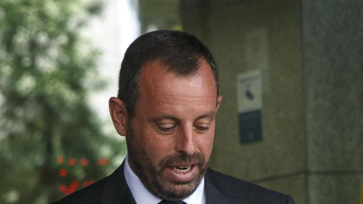Former president of Barcelona soccer club Rosell leaves the High Court in Madrid
