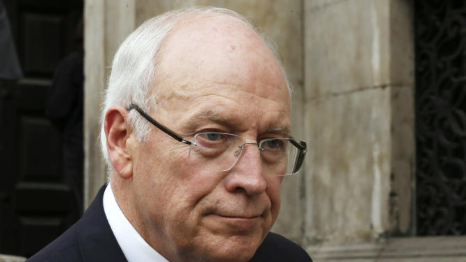 Former U.S. Vice President Dick Cheney leaves after attending the funeral service of former British Prime Minister Margaret Thatcher at St. Paul's Cathedral, in London, Wednesday, April 17, 2013. Margaret Thatcher, Britain's Iron Lady, was laid to rest Wednesday with a level of pomp and protest reflecting her status as a commanding, polarizing political figure. (AP Photo/Olivia Harris, Pool)