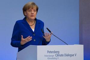 Germany's Chancellor Angela Merkel delivers a speech at the Petersberg Climate Dialogue in Berlin