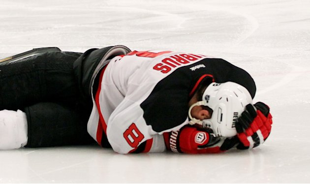   Dainius Zubrus #8 Of The New Jersey Devils Hold His Head On The Ice In Game Five Of The Eastern Conference Final  Getty Images