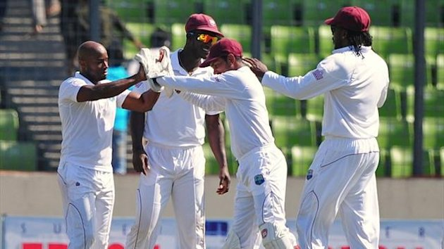 West Indies celebrate a Tino Best wicket against Bangladesh