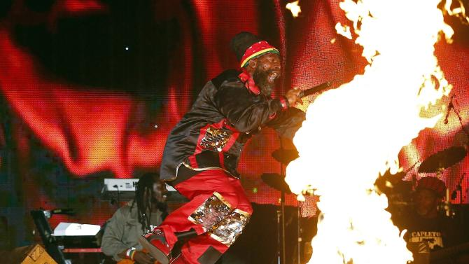 Jamaican reggae artist Dapleton performs at the Sting 2014 concert in Kingston