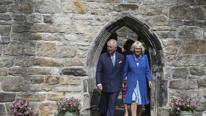 Britain's Prince Charles and Camilla the Duchess of Cornwall visit Donegal Castle in Donegal Town, Ireland