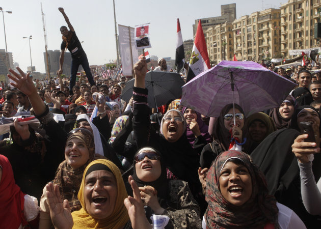 Egyptian protesters shout slogans at a protest in Tahrir Square, Cairo, Egypt Friday, June 8, 2012. Hundreds gathered in Cairo's Tahrir Square, the focal point of Egyptian uprising, to demonstrate against presidential candidate Ahmed Shafiq, Hosni Mubarak's last prime minister, ahead of a run-off vote.