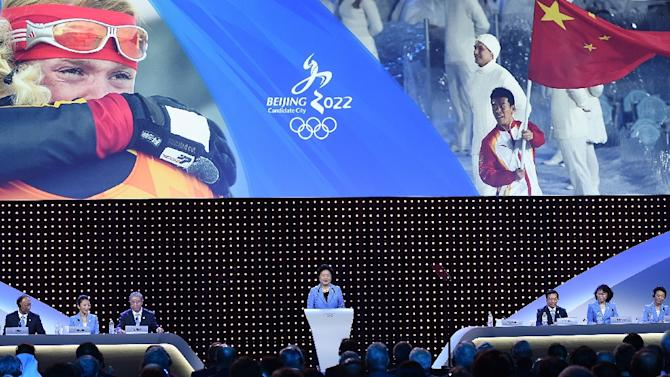 China's Vice Premier Liu Yandong speaks during the bid presentation to host the 2022 Winter Olympics in Beijing, at the 128th IOC session in Kuala Lumpur on July 31, 2015