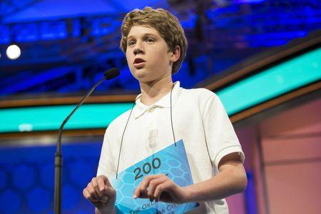 "Cole Shafer-Ray of Oklahoma City, Oklahoma, spells ""commissurotomy"" during the final round of the 88th annual Scripps National Spelling Bee"