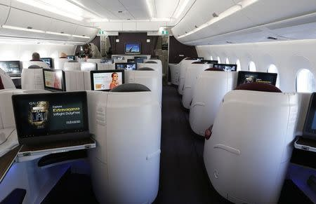 General view inside an Airbus A350 XWB is seen during the first delivery of this new passenger jet to Qatar Airways in Toulouse