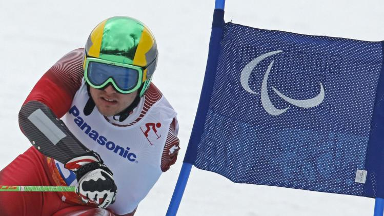 Switzerland's Brodard skis during the Men's Standing Skiing event of the Giant Slalom at the 2014 Sochi Paralympic Winter Games at the Rosa Khutor Alpine Center