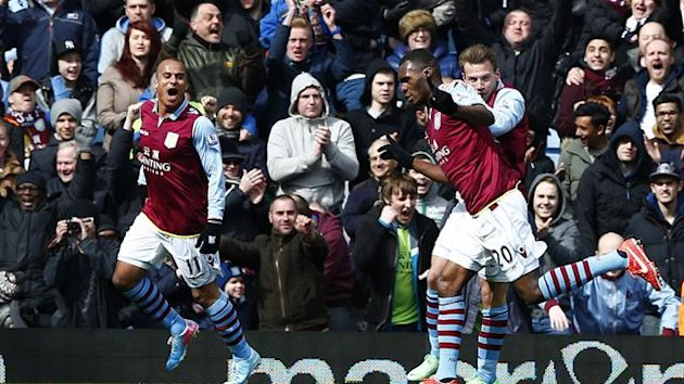 DATE IMPORTED:March 31, 2013Aston Villa's Christian Benteke (C) celebrates his goal against Liverpool (Reuters)