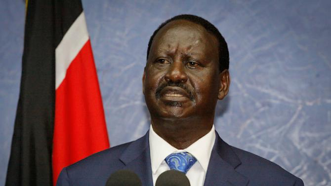 Losing presidential candidate Raila Odinga speaks to the media as he accepts the Supreme Court ruling upholding the election result, and urges unity amongst Kenyans, at a press conference in Nairobi, Kenya, Saturday, March 30, 2013. Kenya's Supreme Court on Saturday upheld the election of Uhuru Kenyatta as the country's next president, ending an election season that riveted the nation amid fears of a repeat of the 2007-08 postelection violence. (AP Photo/Khalil Senosi)