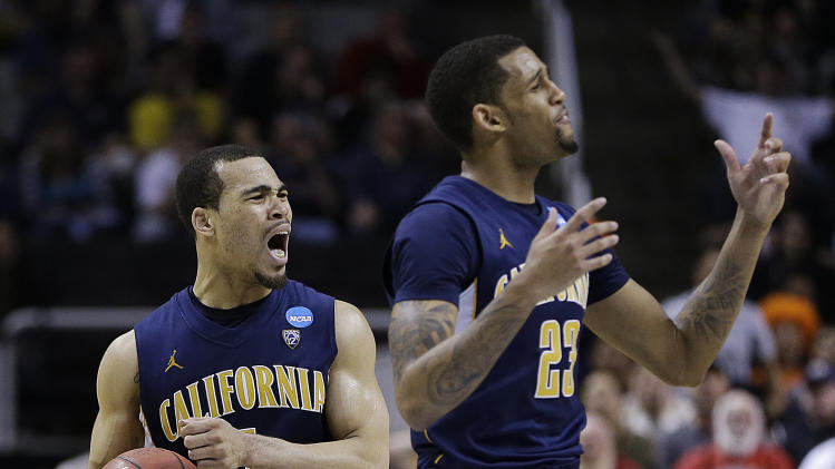 California's Justin Cobbs, left, and Allen Crabbe (23) react to a foul called on Cobbs during the second half of a third-round game in the NCAA college basketball tournament against Syracuse in San Jose, Calif., Saturday, March 23, 2013. (AP Photo/Ben Margot)