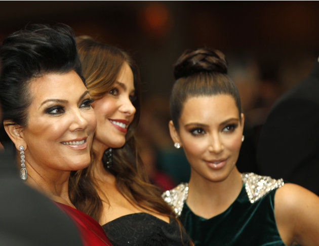 Kris Jenner, left, with Sofia Vergara, center, and Kim Kardashian during the White House Correspondents' Association Dinner headlined by late-night comic Jimmy Kimmel, Saturday, April 28, 2012 in