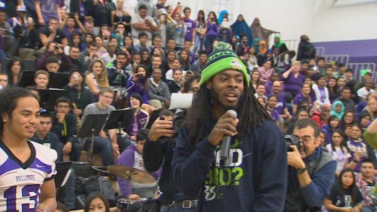 Seahawks star Richard Sherman speaks to students at Foster High — KING 5 screenshot