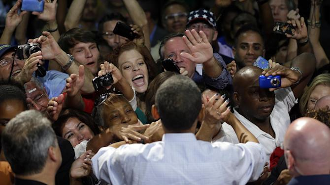 President Barack Obama greets supporters at a campaign event at West Palm Beach County Convention Center, Sunday, Sept. 9, 2012, in West Palm Beach, Fla. (AP Photo/Pablo Martinez Monsivais)