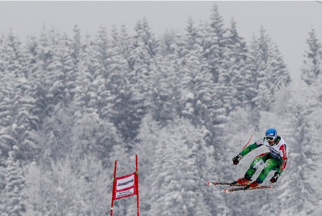 Romar of Finland jumps during the second training for the men's Downhill event of the Alpine Skiing World Cup downhill ski race in Garmisch-Partenkirchen