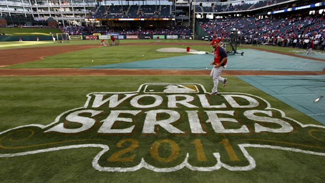 St. Louis Cardinals' Albert Pujols prepares for Game 4 of baseball's World Series against the Texas Rangers, Sunday, Oct. 23, 2011, in Arlington, Texas. (AP Photo/Paul Sancya)